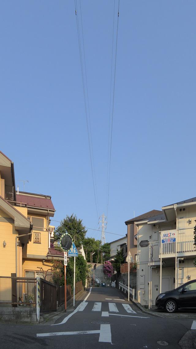 送電線の下を伸びゆく道路。こうして鉄塔の下を歩くと、まるで自分が電気のように感じる。