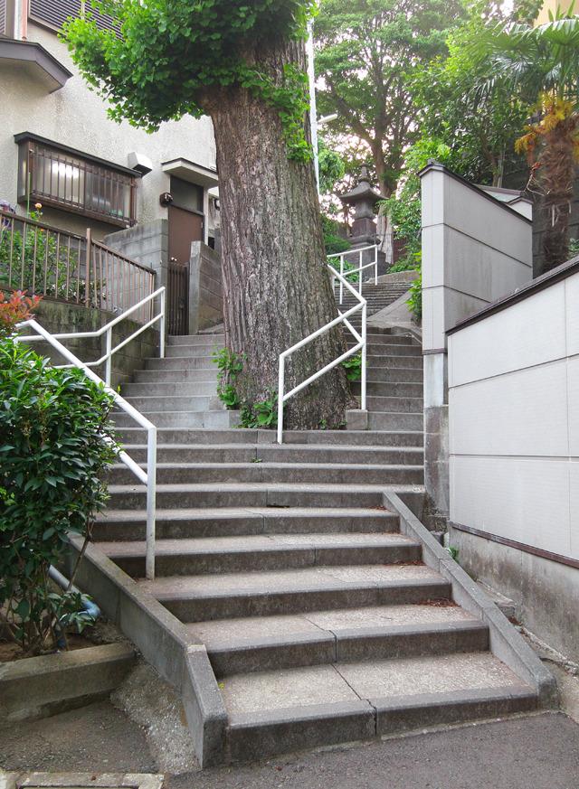 お寺の脇の樹を遠慮して階段がラウンド!