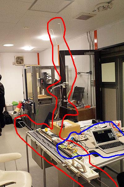 グリッチニットの機械全景。赤が元々あるニッティングマシンで、青が改造部分