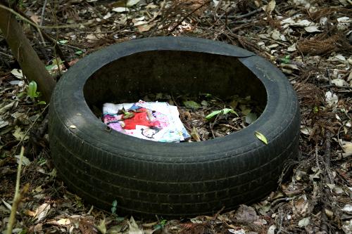 打ち捨てられたタイヤの中にはアレな雑誌が