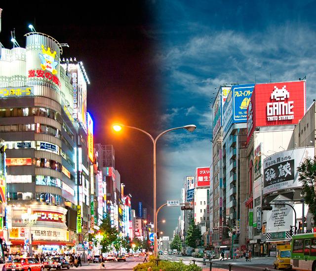 昼と夜を1枚の写真にした。「眠らない街」新宿にふさわしい。