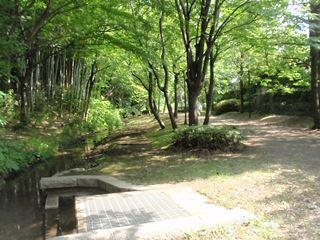 茅ヶ崎貝塚。水の流れる遊歩道。