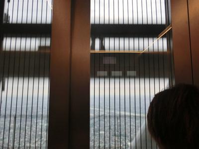 エレベーターはシースルー。悲鳴が上がってました