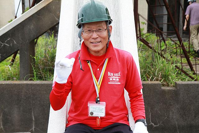 軍艦島の炭鉱で働いたことがあるというガイドの木場田さん。昭和13年生まれ。