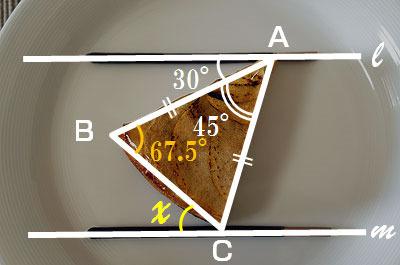 三角形の内角の和は180度。かつタルトは二等辺三角形なので、角ABCは (180度-45度)/2 = 67.5度