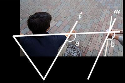 足と補助線は平行なため、角aと角bは同位角となる。同位角は等しいため、補助線同士の角度を測るだけでよい。