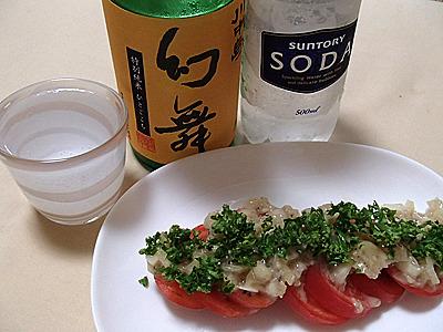爽やかな味わいの日本酒に合わせて、程良い甘さと酸味、塩気がトマトに合う甘酒ドレッシングがけの冷やしトマトを用意。