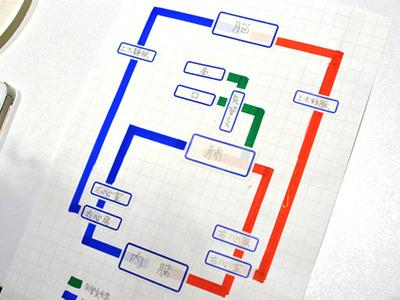 参考用にぼくがもう一つ作った人体循環線は途中駅が少なかったからか、ただの模式図みたいで路線図っぽくならなかった……。