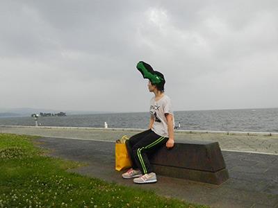 宍道湖を眺める島根リーゼント