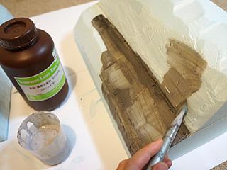 ラテックス塗って、なだらかさを目指す。
