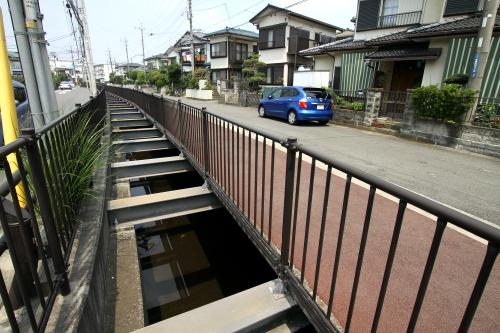高架を越えると再び半渠として姿を現す