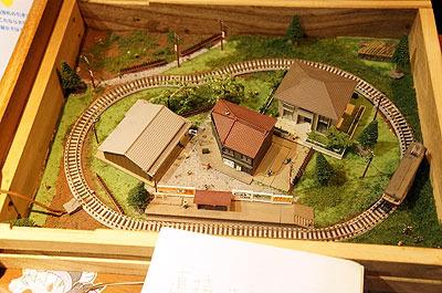 鍵穴から配線が通してあって、ちゃんと電車が走る