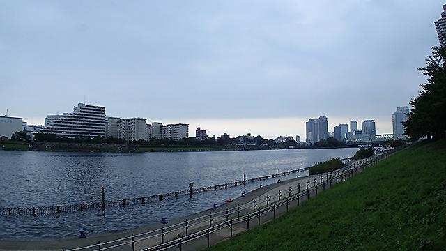 夕暮れのハドソン川(実際には隅田川)。