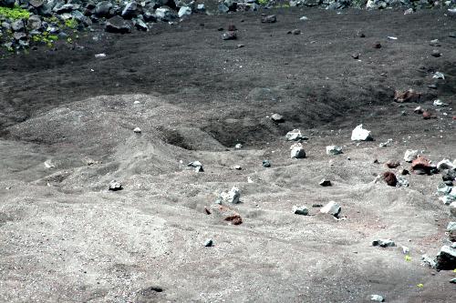 火口底の砂地がボコボコしているのが少々不気味だ