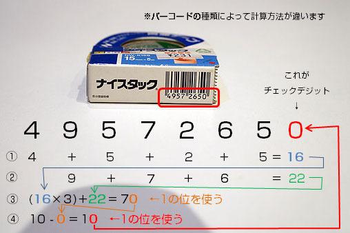 チェックデジットの例