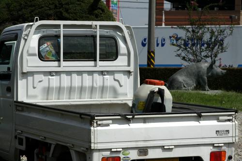 積み荷の無い軽トラは、運転席の背中部分が見どころ