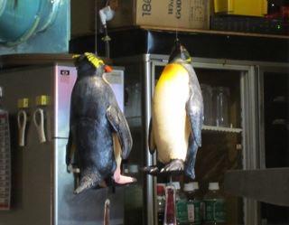 ペンギンが無意味に、吊られているし。