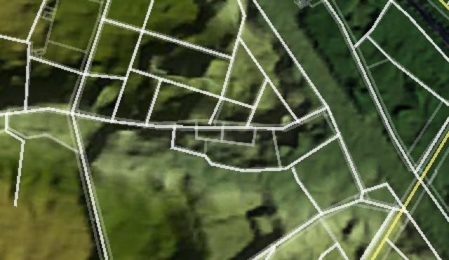 上と同じ範囲の地形。東京地形地図をGoogle Earthで表示したものをキャプチャ。