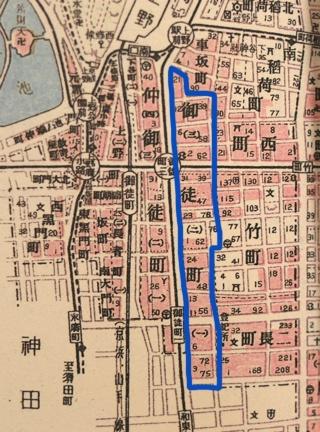 昭和初期の地図より。青線が御徒町。