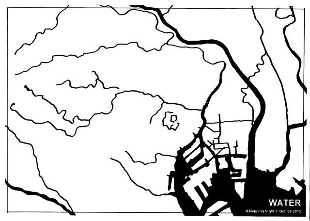 石川初さん作:首都圏の、海岸線と主要河川だけが示された白地図。これに「1.スカイツリー」「2.東京タワー」「3.カルチャーカルチャー」の位置を描き込んでみてください!