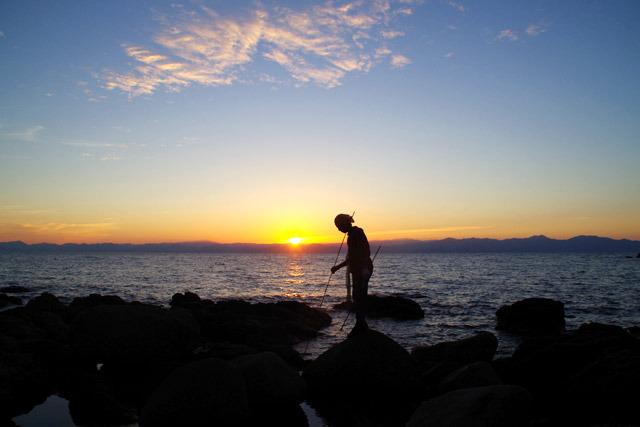 こちらは島の東側なので朝日が綺麗。