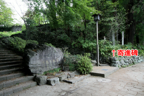 その袂に東照宮への入口があり、その傍らにひっそり立つ寄進碑