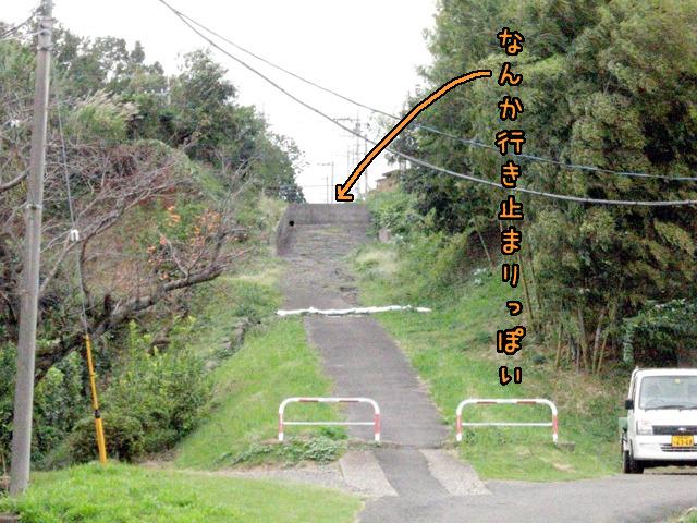よく見ると坂の途中に塀のようなものがあって行く手を阻んでいる。ように見える。