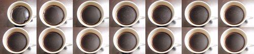 毒入りコーヒーチャレンジ2週間分。左上から右下へと