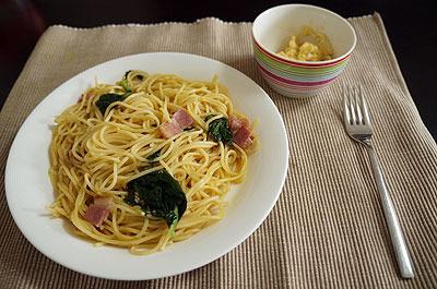 今日のランチはスパゲッティで
