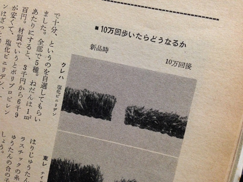 絨毯に並ぶのは80年66号の人工芝のテスト「人工芝とはどんな芝か」。それもテストするか! というチョイス。10万回歩くなかで週1回すみずみまで掃除機もかけるというもの