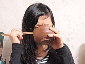 ヘルシア緑茶漬けを食べた時の眉間のしわがひどい。器が違うのは、色が分かりにくかったので作り直したからです。
