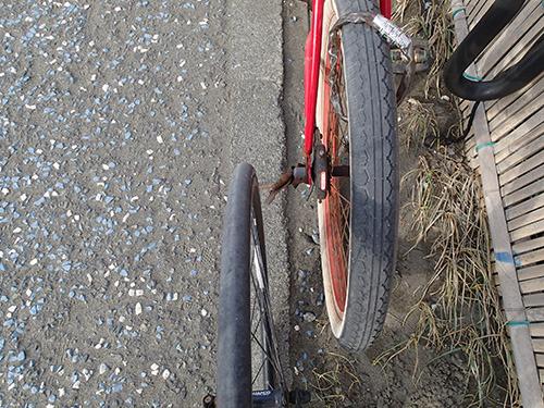 僕の自転車のタイヤと比べると倍くらい太い。溝もあって砂に強い。