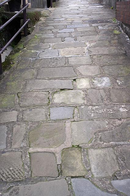 よく見れば歴史を思わせる石畳の道。