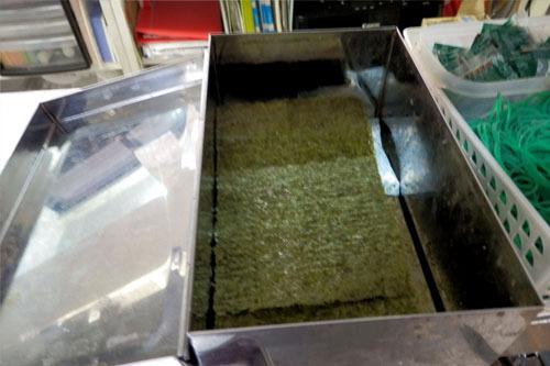 二重底の専用容器で乾燥状態を保つ
