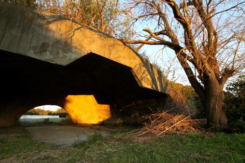 夕日を浴びて光り輝く掩体壕