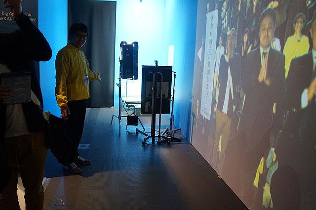 そして展示のエピローグ。展示を見て「へー」と思ったら、出口にあるブースで拍手をしてみよう。すると…