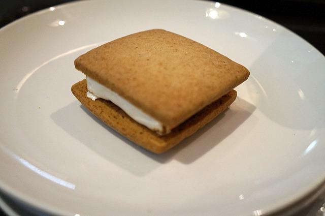 せっかくなのでもっとなにか食べておきたい! とぎりぎり滑り込ませた「スモア」というマシュマロのクッキーサンド(210円)。若干無理して詰め込んでいる感じがしてきたので、これでおわり!