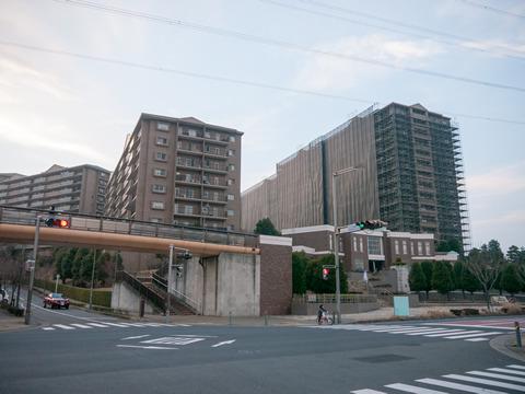 近くにある巨大なマンションには足場が組んであってかっこいい!