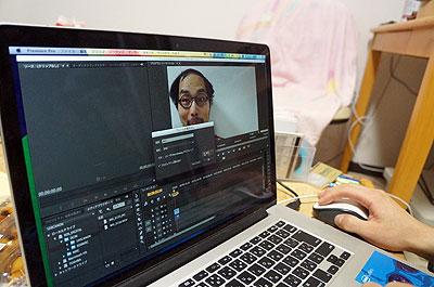 動画のシネマグラフ化に着手。まず長く撮った動画を、ペロペロ1回分に短くカット