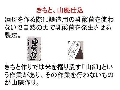 質問される日本酒用語ナンバーワンかもしれない山廃。これも詳しく話し始めると非常に長くなる。「山卸廃止もと」の略。現在は醸造用乳酸菌を入れて作る速醸という方法が多いです。