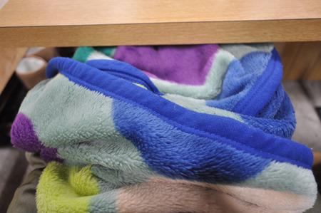 席ごとに毛布とそれにくるまった湯たんぽが備えられている。