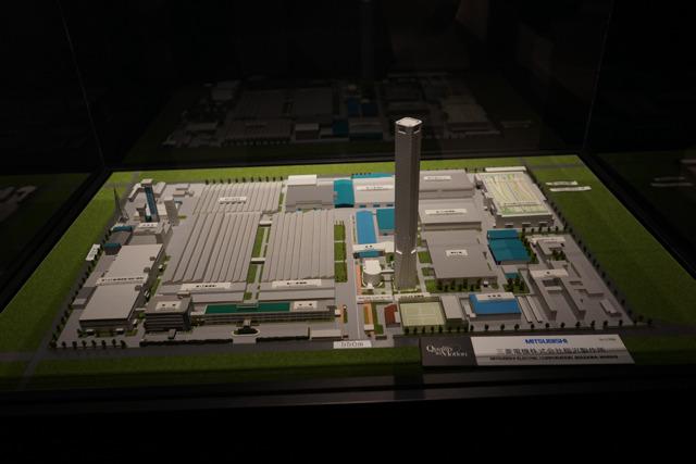 稲沢製作所の全体模型も。広さは東京ドーム4個分。
