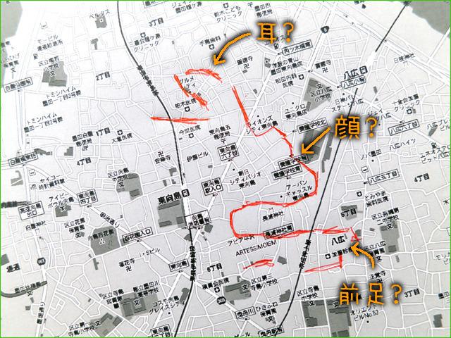 一週間ぐらい地図とにらめっこして、なにかの形に見える道筋を探す(「十五夜に体長2.5kmのウサギの絵を描いた」より)