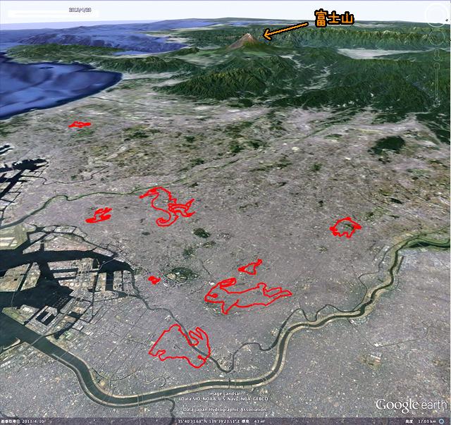 関東平野上空を東から鳥瞰するとこんな。とりたてて意味はないが向こうに富士山を入れてみたかったのです(GPSログをGoogle earthで表示したものをキャプチャ、加筆)
