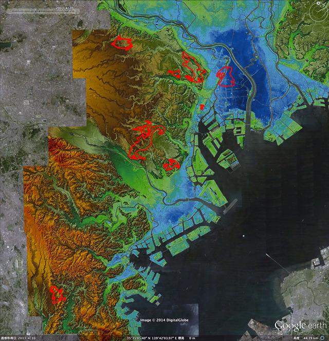 地上絵オールスターズを地形図に乗せると、多くが崖っきわにいることが判明。(「東京地形地図」をGoogle earthで表示したものにログを乗せキャプチャ、加筆)