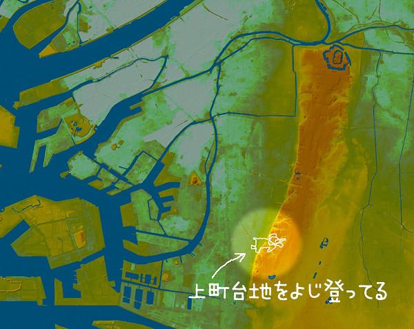 くだんの苦労した大阪の子ゾウも、複雑な顔部分は道路が不整形になる崖っきわだった。やっぱり!(国土地理院「数値地図5mメッシュ(標高) 」をカシミール3Dで表示したものにログを乗せキャプチャ、加工)