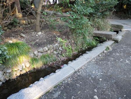 敷地内には湧き水からの水路が流れていた