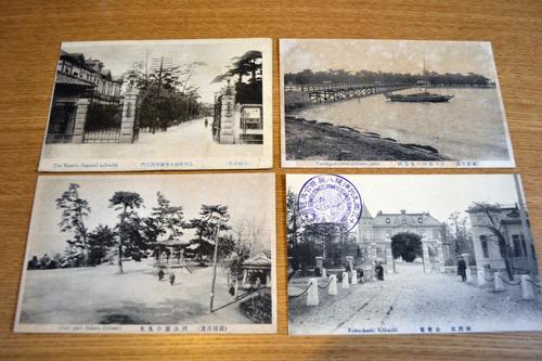 福岡市の絵葉書。右下の絵葉書の建物は今でも残ってるはず(福岡に行った時に見た)