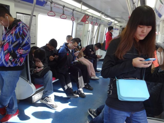 長い乗車の間、みなスマホで暇つぶししてる。暇つぶし方法は万国共通!