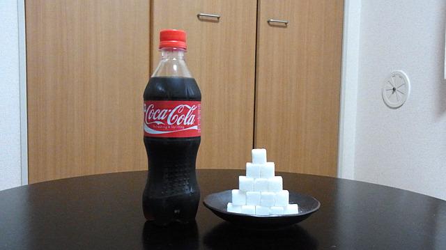 コーラに入っている糖質を砂糖で可視化(500mlに角砂糖15個)。こんなに入ってるの?とショックを受ける